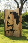 self portrait of sculptor stencil wood