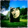Sculpture stencil wood carving tinto house hay festival