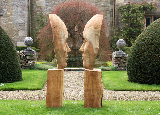 Sculpture Manor House art garden woodwork head face