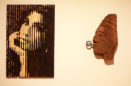 Amy Winehouse stencil art sculpture scorched woodwork chainsaw