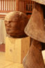 boxer rugby player sequoia wood sculpture art